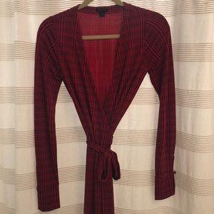 Ann Taylor Red Print Wrap Dress